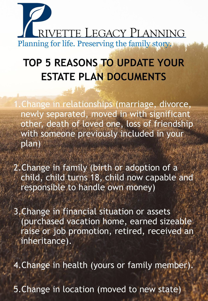 Top 5 Reasons to Update Your Estate Plan Documents