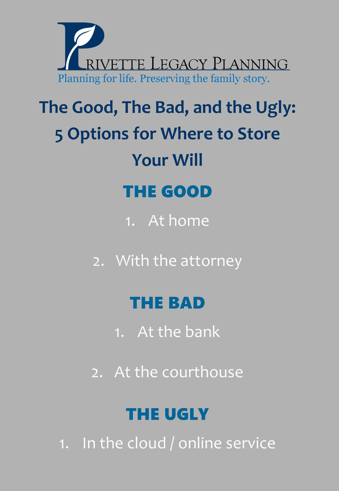 The Good, the Bad, and The Ugly:  5 Options for Storing Your Will