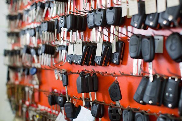 Large assortment of car key duplicates a