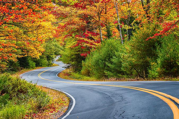 Winding road curves through scenic autum