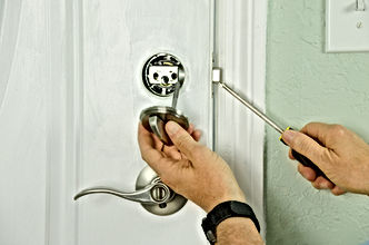 Closeup of a professional locksmith inst
