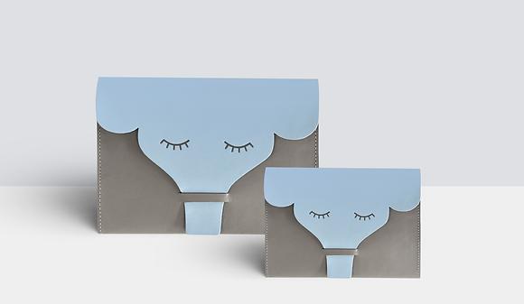Kit Família Elefante Cinza e Azul