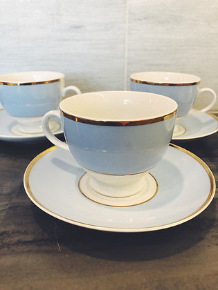Mismatched vintage tea cups