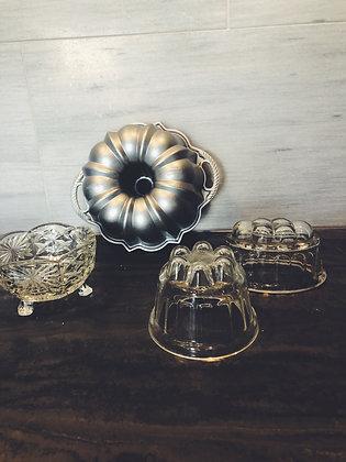 Vintage jelly moulds + cake tin