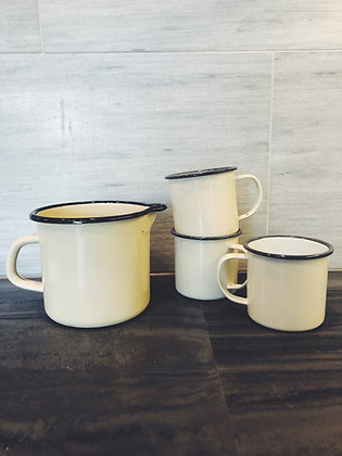 Enamel tin jug + mugs