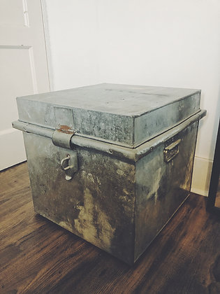 Galvanised metal trunk