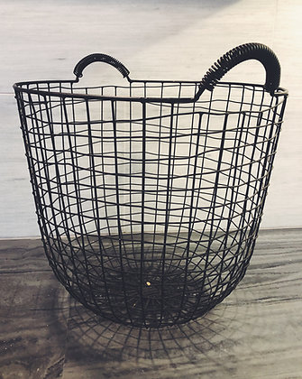 Grey wire storage basket