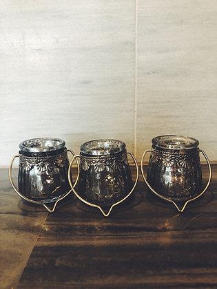 Hanging mercury glass votives