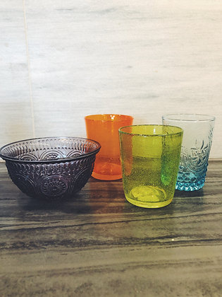 Colourful glassware and crockery