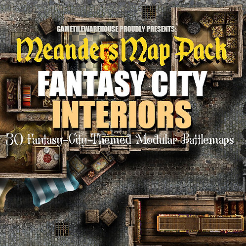 Fantasy City INTERIORS: Roll20 Meanders Map Pack