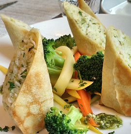 Seafood Vegetable Stuffed Crepes