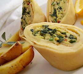 Egg & Spinach Roulade in Crepes