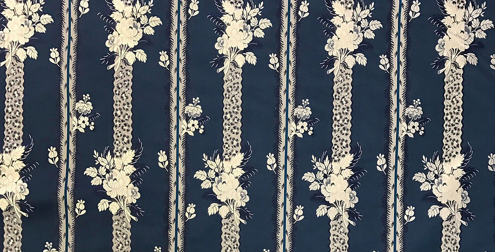 Navy Blue and White - Silk - Stripe - Floral