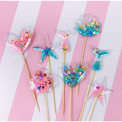Confetti Cake Toppers -Blue Heart