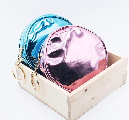 Holographic Round Key Bag - Blue
