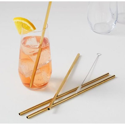 Eco-Friendly Gold Steel Straws - Set of 3 + Cleaner