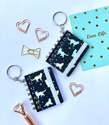 Mini Keychain Notebook - Holographic Cats