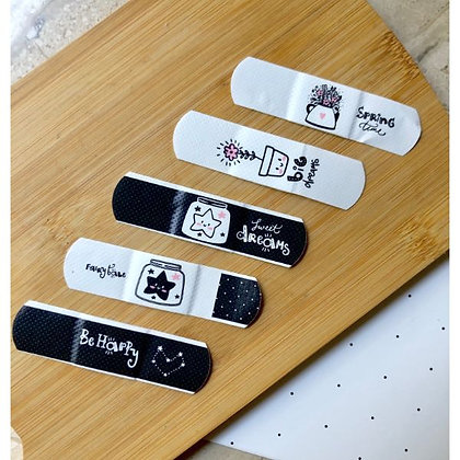 Bandaids - Black and White - Set of 5