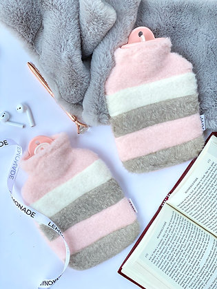 Hot Water Bag - Pink Pastel with Faux Fur