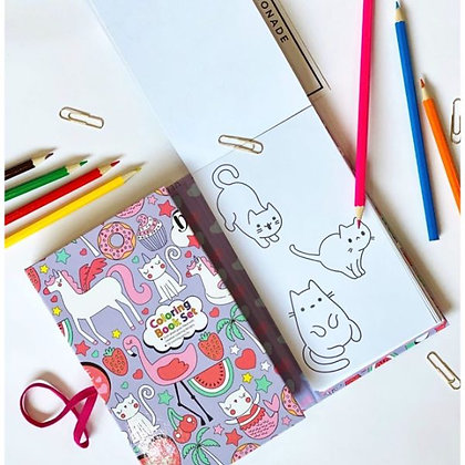 Colouring Book Kitty Cat With 10 Colouring Pencils