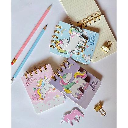 Dual Pocket Notepad - Dreamy Unicorn - White