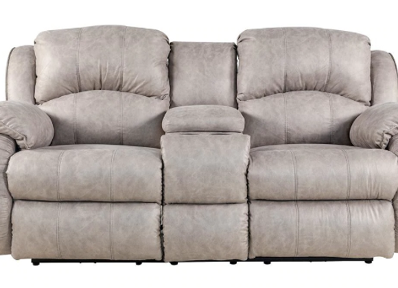 River Run Power Reclining Loveseat with Console and Power Headrest in Nickel