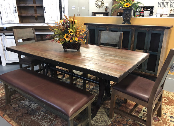 Antique Multicolor Dining Set with Bench