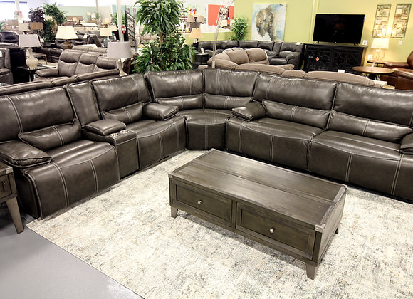 Justin Leather Power Reclining Sectional with Power Headrests & Lumbar