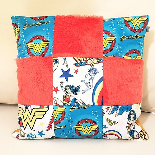 Handmade Wonder Woman Patchwork Cushion Cover.