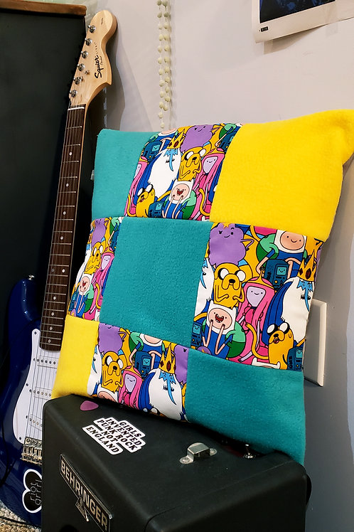 Handmade Adventure Time Inspired Patchwork Cushion Cover.