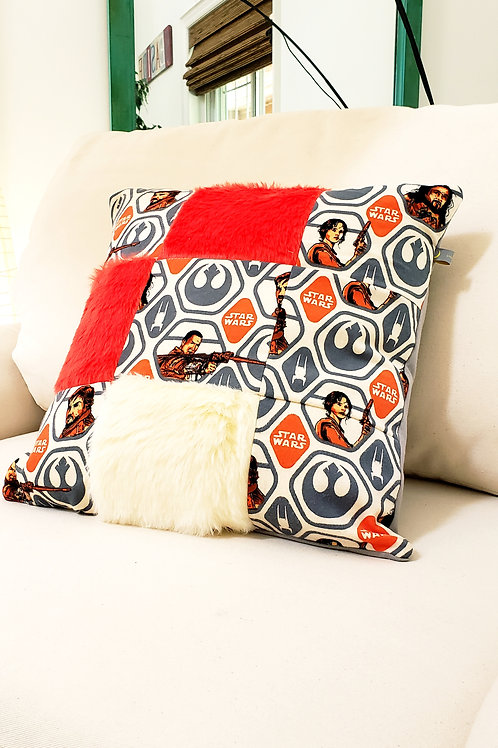 Handmade Star Wars Inspired Patchwork Cushion Cover.