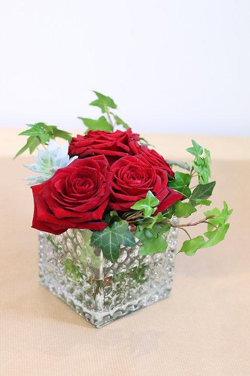 Detalle de 6 rosas rojas