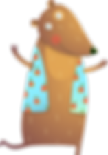 dessin ours en gilet bleu clair