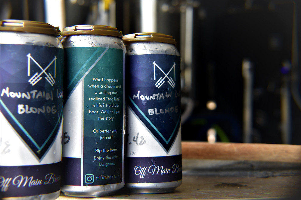 Off Main Brewing Mountain Loral Blonde Cans
