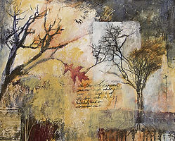 Mixed media abstract painting with tree