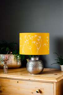HELEN ROUND Linen Lampshade in Mustard H
