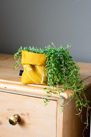 HELEN ROUND Linen Fabric Storage Pot in Mustard
