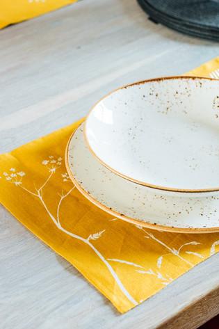 Helen Round Linen Placemats in Mustard H