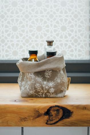 HELEN ROUND Fabric Storage Pot in Natural