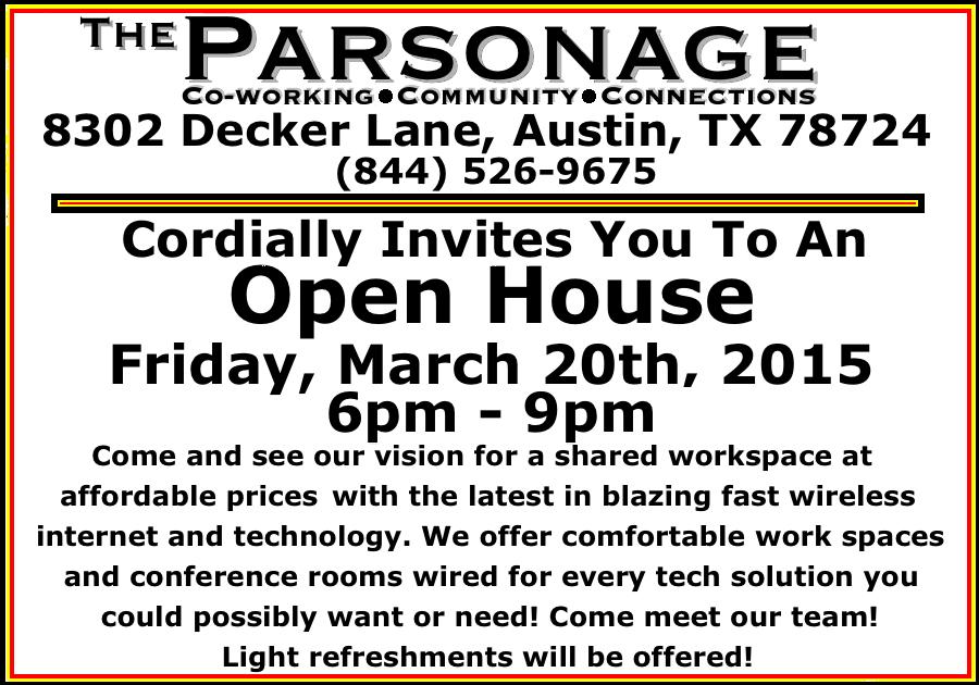 Parsonage Open House Invitation