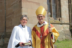 Revd Jo Williamson with the Bishop of Worcester John Inge 2019