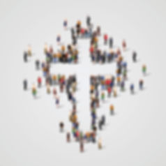cross outline by people