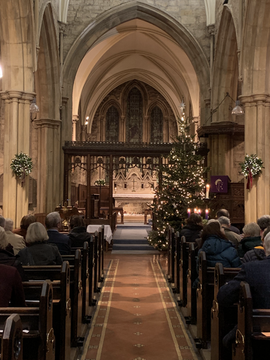 Filling up for the carol service