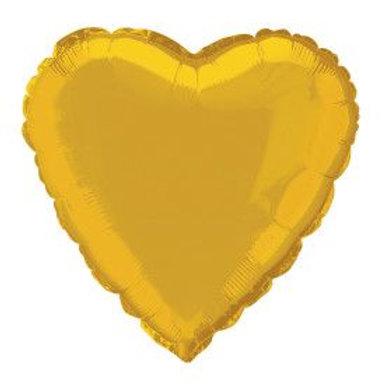 """Balloon Foil 18"""" Heart Gold"""