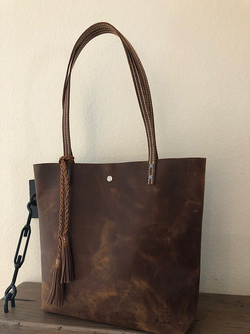 TS Everyday Tote - Rustic Oiled - White Stitching