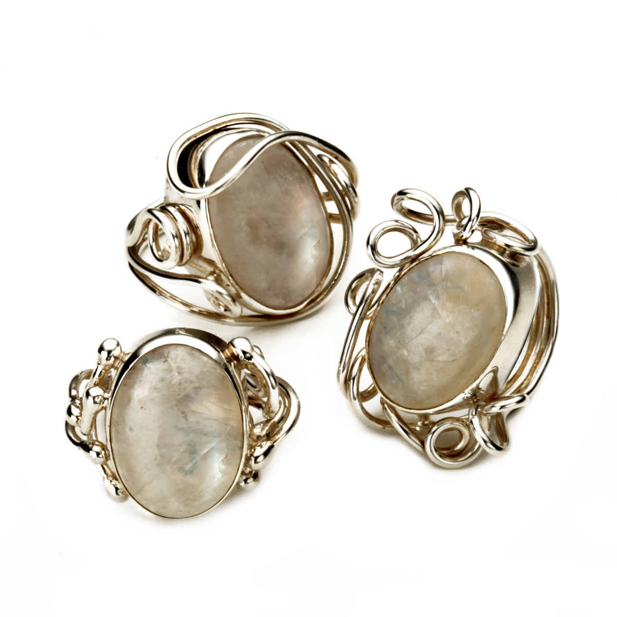 Silver Wire Rings with Moonstones
