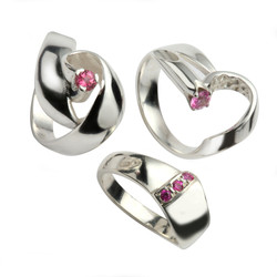 Silver Rings with Pink Tourmalines