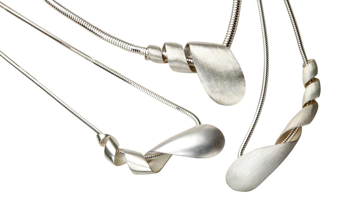Silver Spiral Curl Pendants
