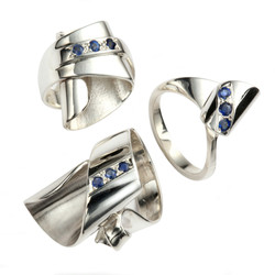 Silver and Sapphire Rings