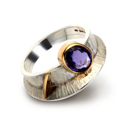 Silver and 18ct Yellow Gold Ring